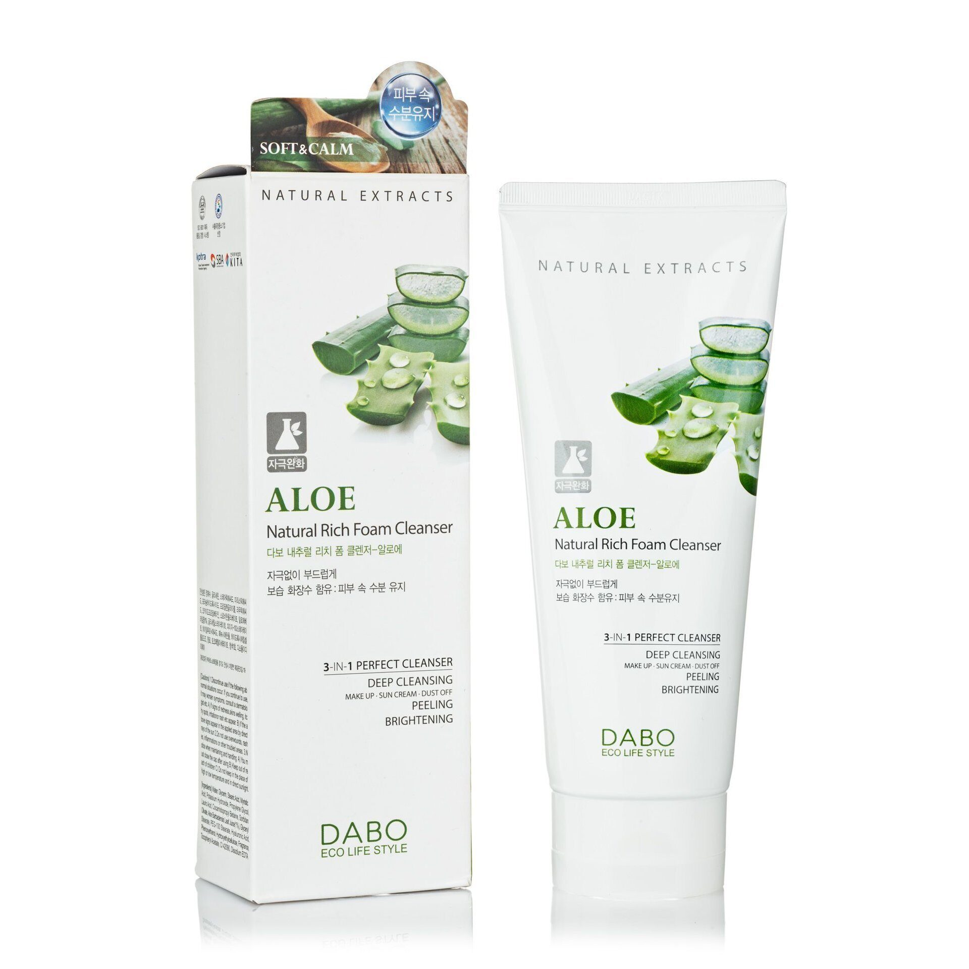 Пенка для умывания DABO Aloe Natural Rich Foam Cleanser 3в1 180 ml.